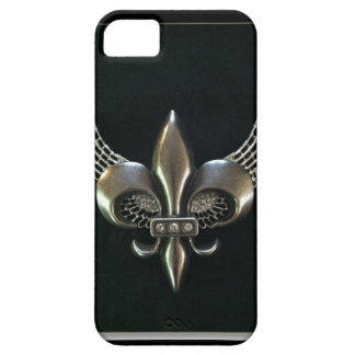 SILVER AND BLACK WINGED FLEUR-DE-LIS iPhone 5 COVERS