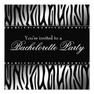 Silver and Black Zebra Diamonds Bachelorette Party Announcements