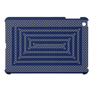 Silver And Blue Celtic Rectangular Spiral iPad Mini Covers