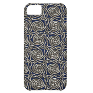 Silver And Blue Celtic Spiral Knots Pattern iPhone 5C Case