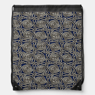 Silver And Blue Celtic Spiral Knots Pattern Cinch Bags