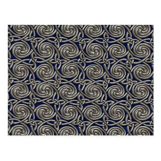 Silver And Blue Celtic Spiral Knots Pattern Postcard