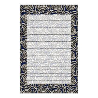 Silver And Blue Celtic Spiral Knots Pattern Stationery