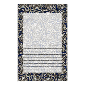 Silver And Blue Celtic Spiral Knots Pattern Stationery Paper