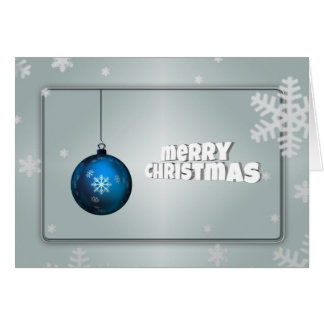 Silver and  Blue Christmas Tree with Ball Greeting Card
