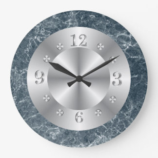 Silver And Blue Faux Marble Large Clock