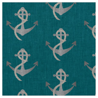 Silver and Blue Nautical Theme Fabric