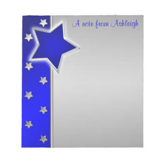Silver and Blue Stars Notepad II
