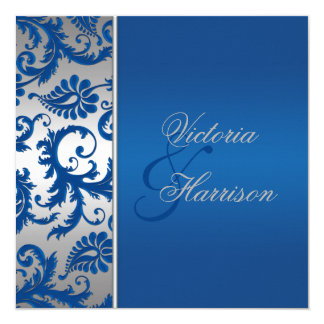 Silver and Cobalt Blue Damask Wedding Invitation