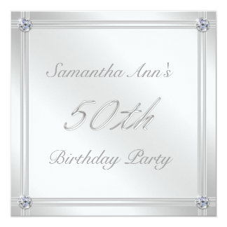 Silver and Diamond Effect 50th Birthday Party Custom Invites
