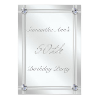 """Silver and Diamond Effect 50th Birthday Party 3.5"""" X 5"""" Invitation Card"""