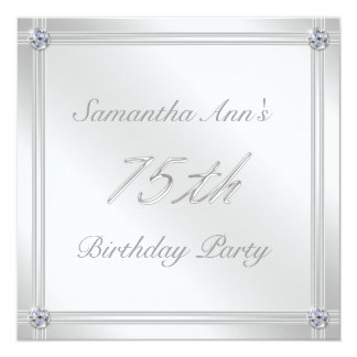 Silver and Diamond Effect 75th Birthday Party Card