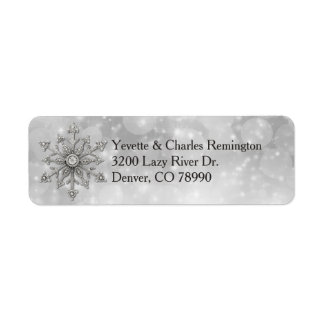 Silver and Diamond Snowflake Address Labels
