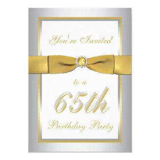 Silver and Gold 65th Birthday Invitation
