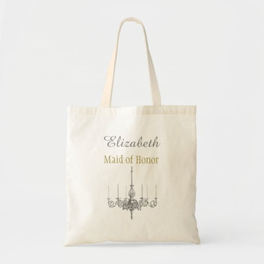 Silver and Gold Chandelier Bridesmaid with Name Tote Bag