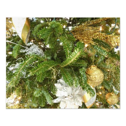 Silver and Gold Christmas Tree Holiday Photo Print