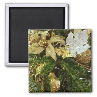 Silver and Gold Christmas Tree II Holiday Square Magnet