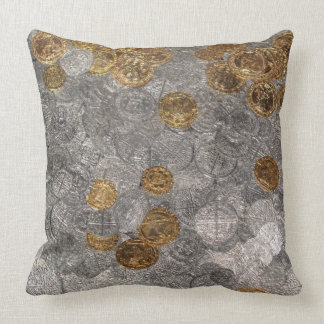 Silver and Gold Coin Treasure. Cushion
