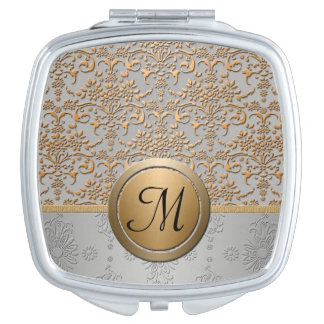 Silver and Gold Damask Pattern with Monogram Compact Mirror