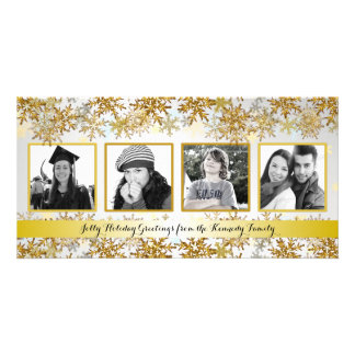 Silver and Gold Family Photo Christmas Card Photo Cards