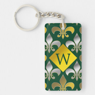 Silver and Gold Fleurs-de-lis on  Green Background Double-Sided Rectangular Acrylic Key Ring