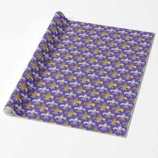 Silver and Gold Fleurs-de-lis on Purple Background Wrapping Paper