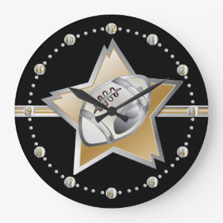 Silver and Gold Football and Star Large Clock