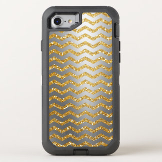 Silver and Gold Glitter Chevron  Defender OtterBox Defender iPhone 8/7 Case