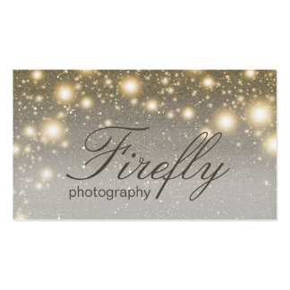 Silver And Gold Glowing Fireflies With Night Stars Business Card Templates