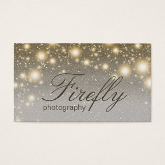 Silver And Gold Glowing Fireflies With Night Stars Business Card