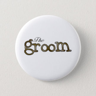 Silver and Gold Groom  6 Cm Round Badge