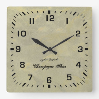 Silver And Gold Metallic Plaster Square Wall Clock