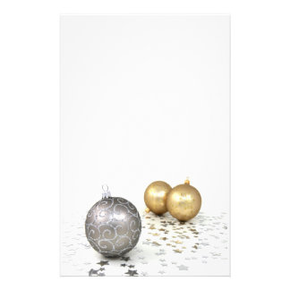 Silver and Gold Ornaments and Stars Customized Stationery