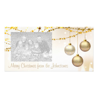 Silver and Gold Ornate Christmas Balls Personalised Photo Card
