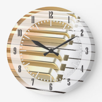 Silver and Gold Piano Wall Clock