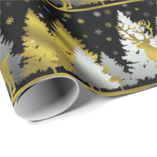 Silver and Gold Reindeer  Christmas party wrap Wrapping Paper