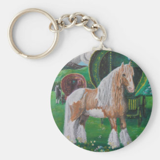 Silver and gold romantic horse and van key ring