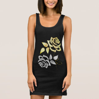 Silver and Gold Roses Tank Dress