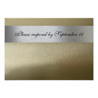 Silver and Gold rsvp with envelope Invitations