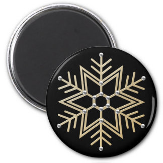 Silver and Gold Snowflake 6 Cm Round Magnet