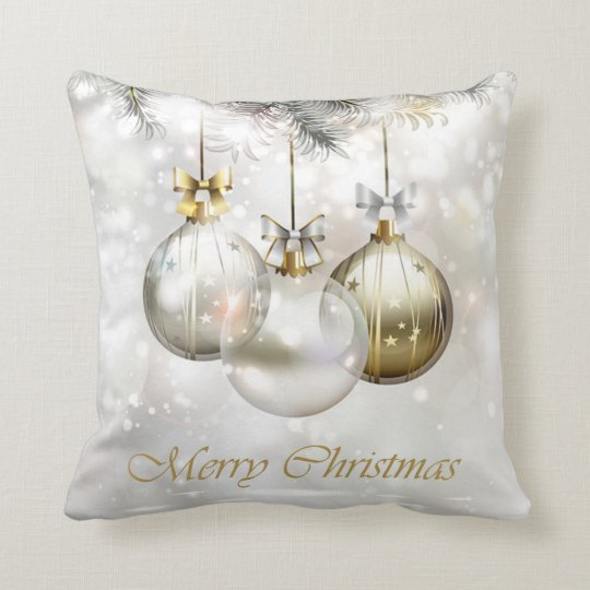 Silver and Golden Christmas Balls & Bows Cushion