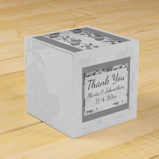 Silver and Gray Floral Favor Box Party Favour Box