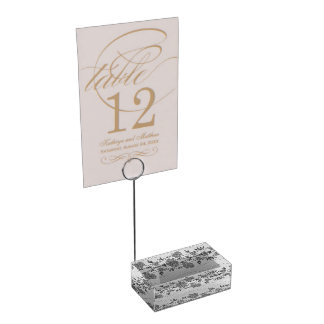 Silver and Gray Floral Table Card Holder