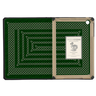 Silver And Green Celtic Rectangular Spiral iPad Mini Retina Cases