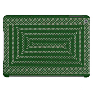 Silver And Green Celtic Rectangular Spiral Case For iPad Air