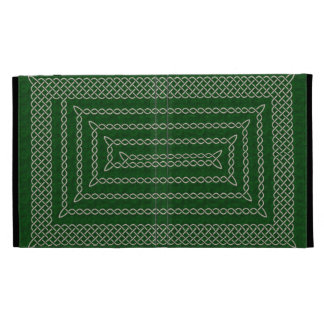 Silver And Green Celtic Rectangular Spiral iPad Cases