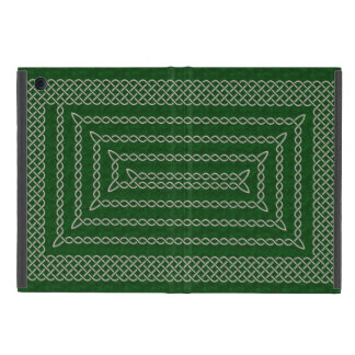 Silver And Green Celtic Rectangular Spiral iPad Mini Case