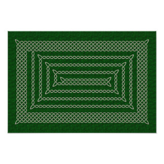 Silver And Green Celtic Rectangular Spiral Photo Art
