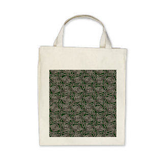 Silver And Green Celtic Spiral Knots Pattern Canvas Bags