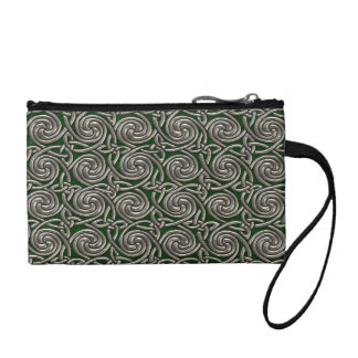 Silver And Green Celtic Spiral Knots Pattern Change Purses